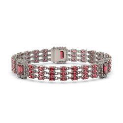 26.64 ctw Tourmaline & Diamond Bracelet 14K White Gold - REF-472K8Y