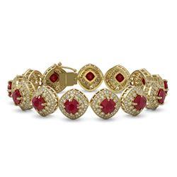 37.35 ctw Certified Ruby & Diamond Victorian Bracelet 14K Yellow Gold - REF-928A2N