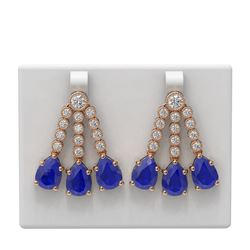24.78 ctw Sapphire & Diamond Earrings 18K Rose Gold - REF-618Y2X