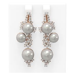 2.43 ctw Diamond & Pearl Earrings 18K Rose Gold - REF-238F2M