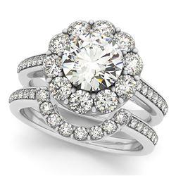 2.36 ctw Certified VS/SI Diamond 2pc Wedding Set Halo 14k White Gold - REF-326F8M