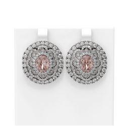 11.6 ctw Morganite & Diamond Earrings 18K White Gold - REF-618X2A