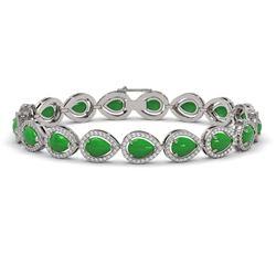 13.19 ctw Jade & Diamond Micro Pave Halo Bracelet 10k White Gold - REF-305Y8X