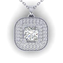 1.60 ctw Princess VS/SI Diamond Art Deco Micro Necklace 14k White Gold - REF-374R8K