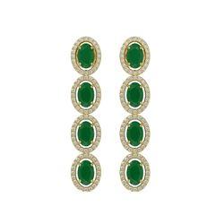 6.47 ctw Emerald & Diamond Micro Pave Halo Earrings 10k Yellow Gold - REF-143Y6X