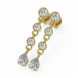 2 ctw Pear Cut Diamond Designer Earrings 18K Yellow Gold - REF-239R9K
