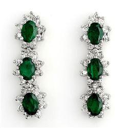 4.88 ctw Emerald & Diamond Earrings 14k White Gold - REF-141G8W