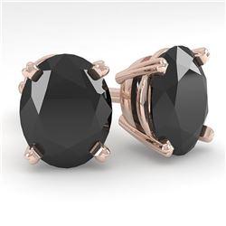 10 ctw Oval Black Diamond Stud Designer Earrings 14k Rose Gold - REF-178F4M