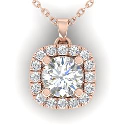 1.01 ctw Certified VS/SI Diamond Stud Halo Necklace 14k Rose Gold - REF-178W2H