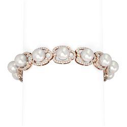 4.45 ctw Diamond & Pearl Bracelet 18K Rose Gold - REF-482F8M
