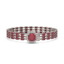 31.91 ctw Ruby & Diamond Bracelet 14K White Gold - REF-307K8Y