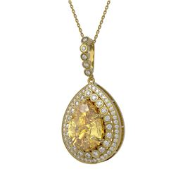 16.96 ctw Canary Citrine & Diamond Victorian Necklace 14K Yellow Gold - REF-230G4W