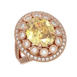 7.87 ctw Canary Citrine & Diamond Victorian Ring 14K Rose Gold - REF-170G9W