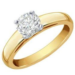 1.0 ctw Certified VS/SI Diamond Solitaire Ring 14k 2-Tone Gold - REF-357F5M