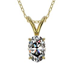 0.50 ctw Certified VS/SI Quality Oval Diamond Necklace 10k Yellow Gold - REF-65M2G