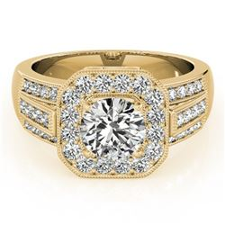 1.5 ctw Certified VS/SI Diamond Halo Ring 18k Yellow Gold - REF-216X8A