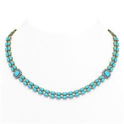 28.86 ctw Turquoise & Diamond Necklace 14K Yellow Gold - REF-436A4N