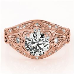 1.12 ctw Certified VS/SI Diamond Antique Ring 18k Rose Gold - REF-184N3F