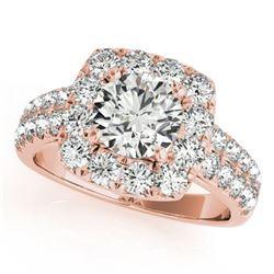 2 ctw Certified VS/SI Diamond Halo Ring 18k Rose Gold - REF-213Y2X
