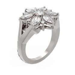 2.07 ctw Diamond Ring 18K White Gold - REF-322H4R