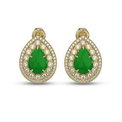 7.74 ctw Jade & Diamond Victorian Earrings 14K Yellow Gold - REF-218X2A
