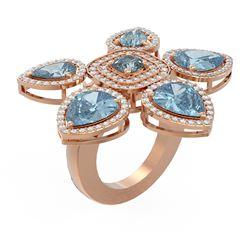 13.10 ctw Blue Topaz Diamond Ring 18K Rose Gold - REF-298F4M
