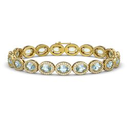 11.02 ctw Aquamarine & Diamond Micro Pave Halo Bracelet 10k Yellow Gold - REF-309H3R