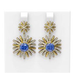 6.33 ctw Tanzanite & Diamond Earrings 18K Yellow Gold - REF-274F5M