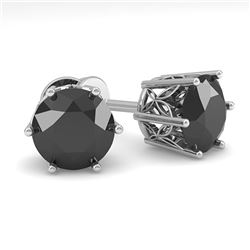 3.0 ctw Black Certified Diamond Stud Earrings 18k White Gold - REF-90F2M