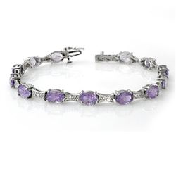 12.04 ctw Tanzanite & Diamond Bracelet 14k White Gold - REF-172M8G