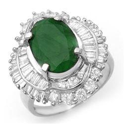 6.0 ctw Emerald & Diamond Ring 18k White Gold - REF-218H2R