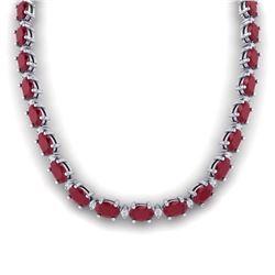71.85 ctw Ruby & VS/SI Certified Diamond Eternity Necklace 10k White Gold - REF-563G6W