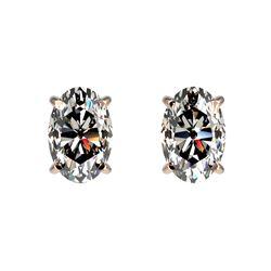 1 ctw Certified VS/SI Quality Oval Diamond Stud Earrings 10k Rose Gold - REF-120W3H