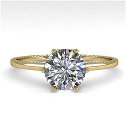 1.0 ctw Certified VS/SI Diamond Engagment Ring 18k Yellow Gold - REF-283G5W