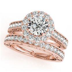 2.11 ctw Certified VS/SI Diamond 2pc Wedding Set Halo 14k Rose Gold - REF-324M5G