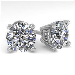 4 ctw Certified VS/SI Diamond Stud Earrings 18K White Gold - REF-1493R5K