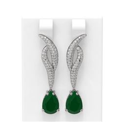 6.79 ctw Emerald & Diamond Earrings 18K White Gold - REF-178F2M