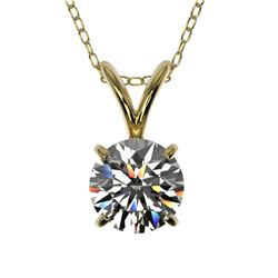 0.77 ctw Certified Quality Diamond Solitaire Necklace 10k Yellow Gold - REF-61G8W