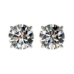 1.52 ctw Certified Quality Diamond Stud Earrings 10k White Gold - REF-127W5H