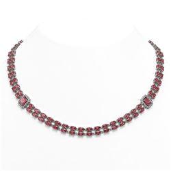 37.23 ctw Tourmaline & Diamond Necklace 14K White Gold - REF-527R3K