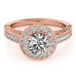1.07 ctw Certified VS/SI Diamond Halo Ring 18k Rose Gold - REF-162K2Y