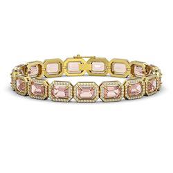 22.81 ctw Morganite & Diamond Micro Pave Halo Bracelet 10k Yellow Gold - REF-569A6N