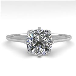 1.0 ctw Certified VS/SI Cushion Diamond Engagment Ring 18k White Gold - REF-317A3N