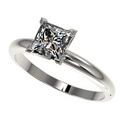 1.25 ctw Certified VS/SI Quality Princess Diamond Ring 10k White Gold - REF-304F6M