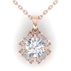0.95 ctw VS/SI Diamond Art Deco Stud Necklace 14k Rose Gold - REF-114F5M