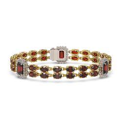 15.75 ctw Garnet & Diamond Bracelet 14K Yellow Gold - REF-232R5K