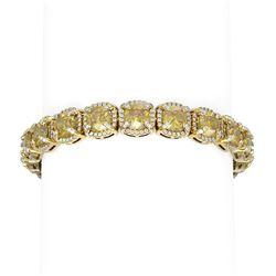 32.82 ctw Canary Citrine & Diamond Bracelet 18K Yellow Gold - REF-890K9Y