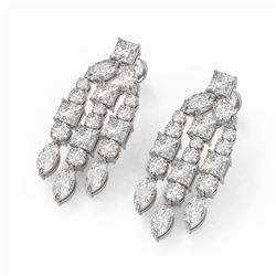 6.4 ctw Princess & Marquise cut Diamond Earrings 18K White Gold - REF-807M5G