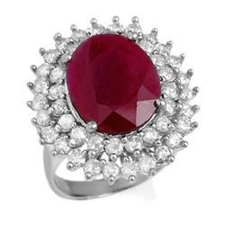 9.83 ctw Ruby & Diamond Ring 18k White Gold - REF-281H8R