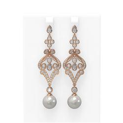 4.57 ctw Diamond & Pearl Earrings 18K Rose Gold - REF-482Y9X